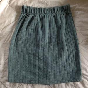 1980s unique light green knit miniskirt
